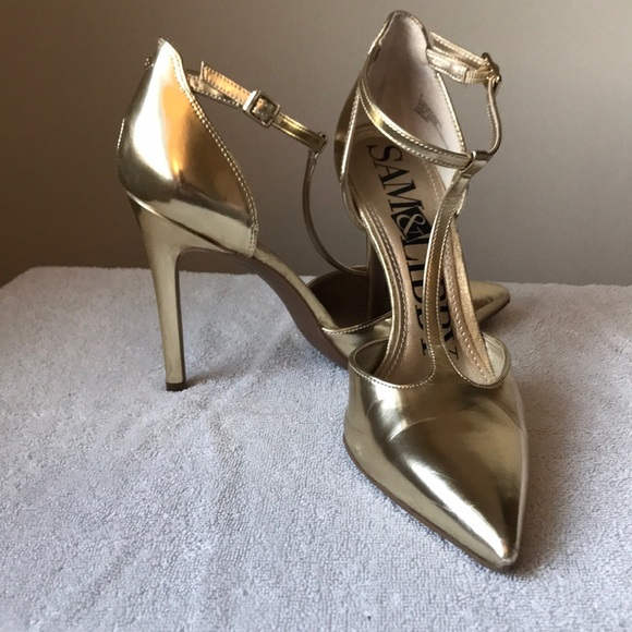 a18ddd7cb81f Sam & Libby Shoes | Sexy Metallic Gold Stilettos With Ankle Strap ...